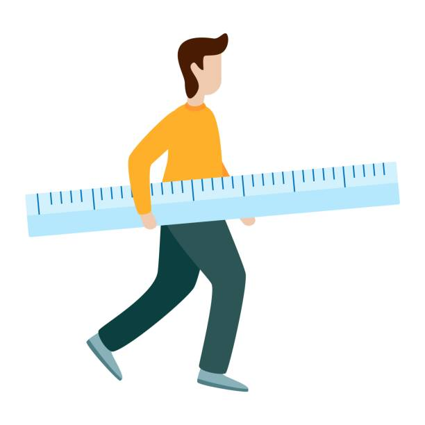 Man hold measurement ruler Flat vector illustration Man hold measurement ruler. Flat vector illustration on white background one man only stock illustrations