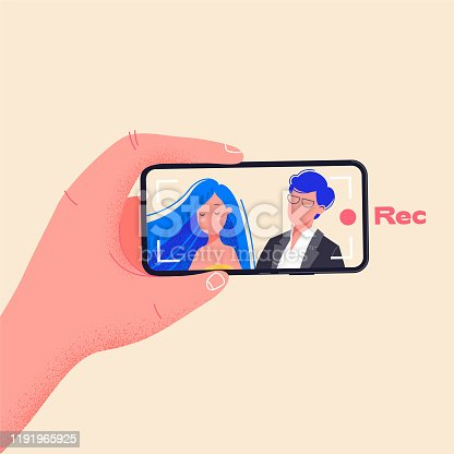 Recording young couple on a wedding. Man hold phone horizontally and record video. Make video by pressing red record button. Young couple on smartphone screen vector illustration. Flat design drawing about phone addiction.