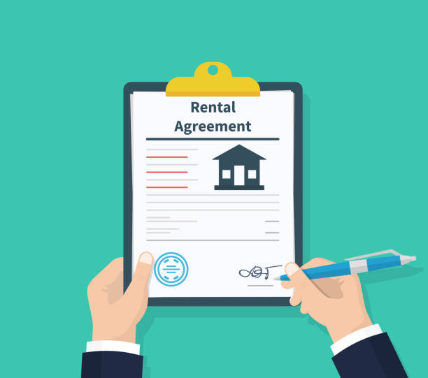 Man hold Rental agreement form contract. Clipboard in hand. Signing document. Flat design, vector illustration on background. Man hold Rental agreement form contract. Clipboard in hand. Signing document. Flat design, vector illustration on background lease agreement stock illustrations