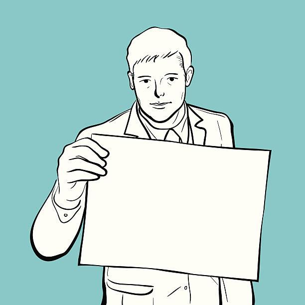 Homme tenant un panneau d'affichage vide - Illustration vectorielle
