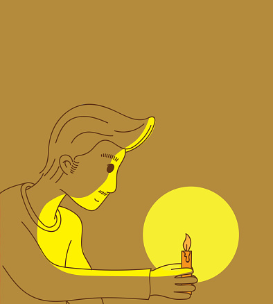 Man holding a candle with light at nightDoodle art concept,illustration painting