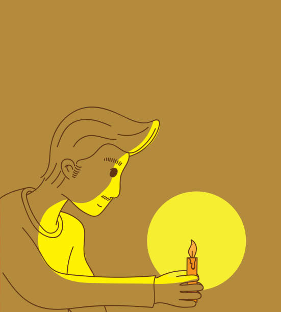 Man holding a candle with light at nightDoodle art concept,illustration painting vector art illustration