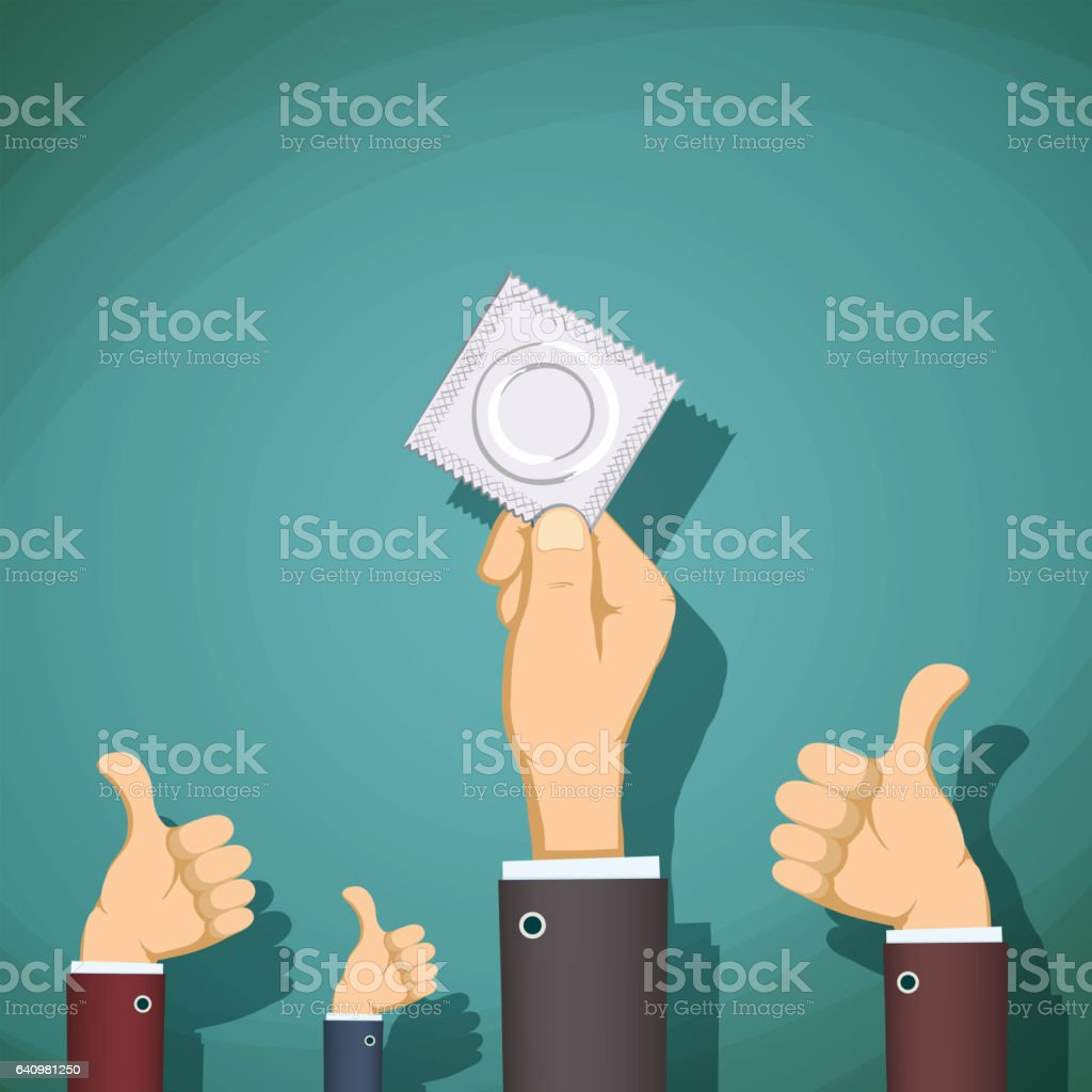 Man holding a condom in her hand. vector art illustration