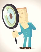 Vector illustration – Man holding a Magnifier and his left hand on his chin.