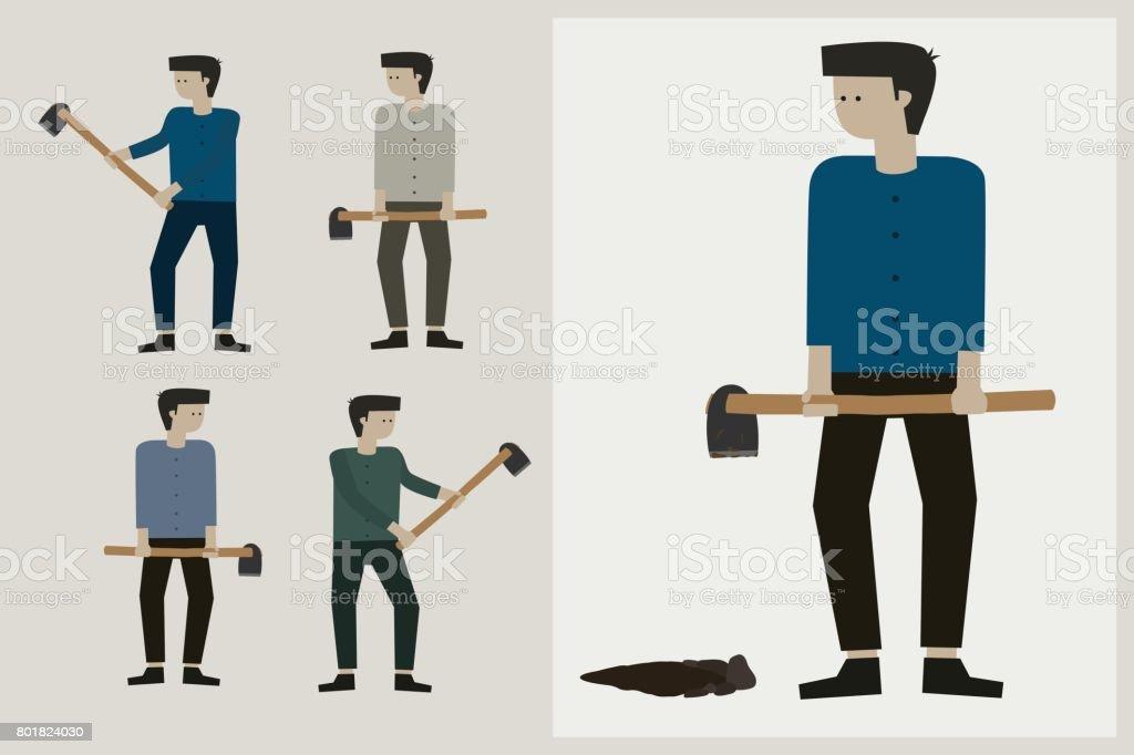 Man holding a shovel digging. vector art illustration