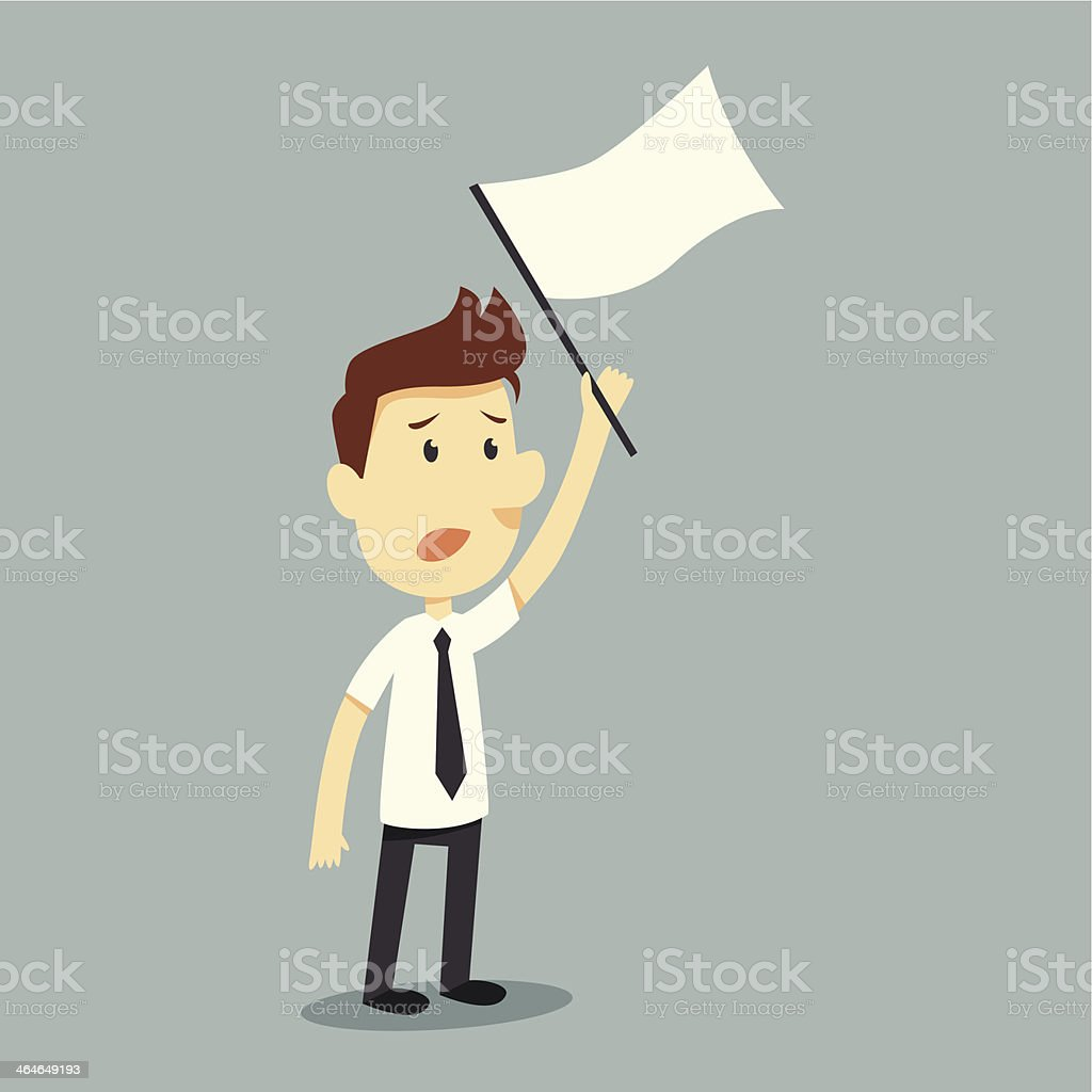 A man holding a white flag to signal surrender vector art illustration