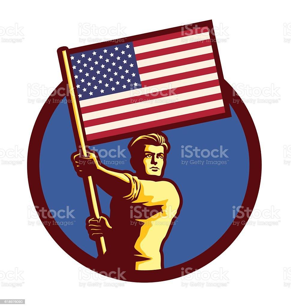 Man holding american flag patriotism nationalism vector illustration vector art illustration