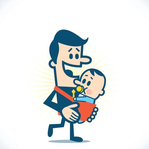 赤ちゃん持つ男性 - 漫画の子供たち点のイラスト素材/クリップアート素材/マンガ素材/アイコン素材