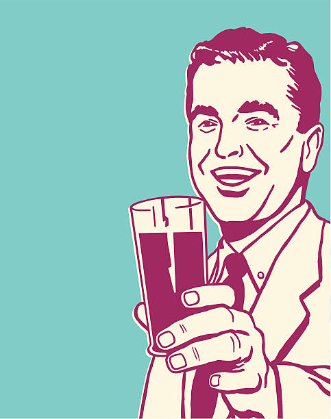 man holding beverage in glass - bachelor party stock illustrations, clip art, cartoons, & icons