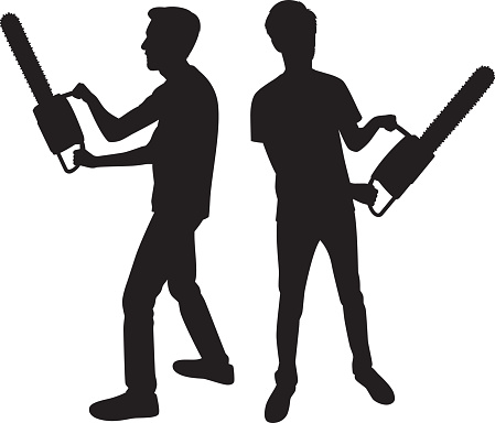 Man Holding Chainsaw Silhouettes
