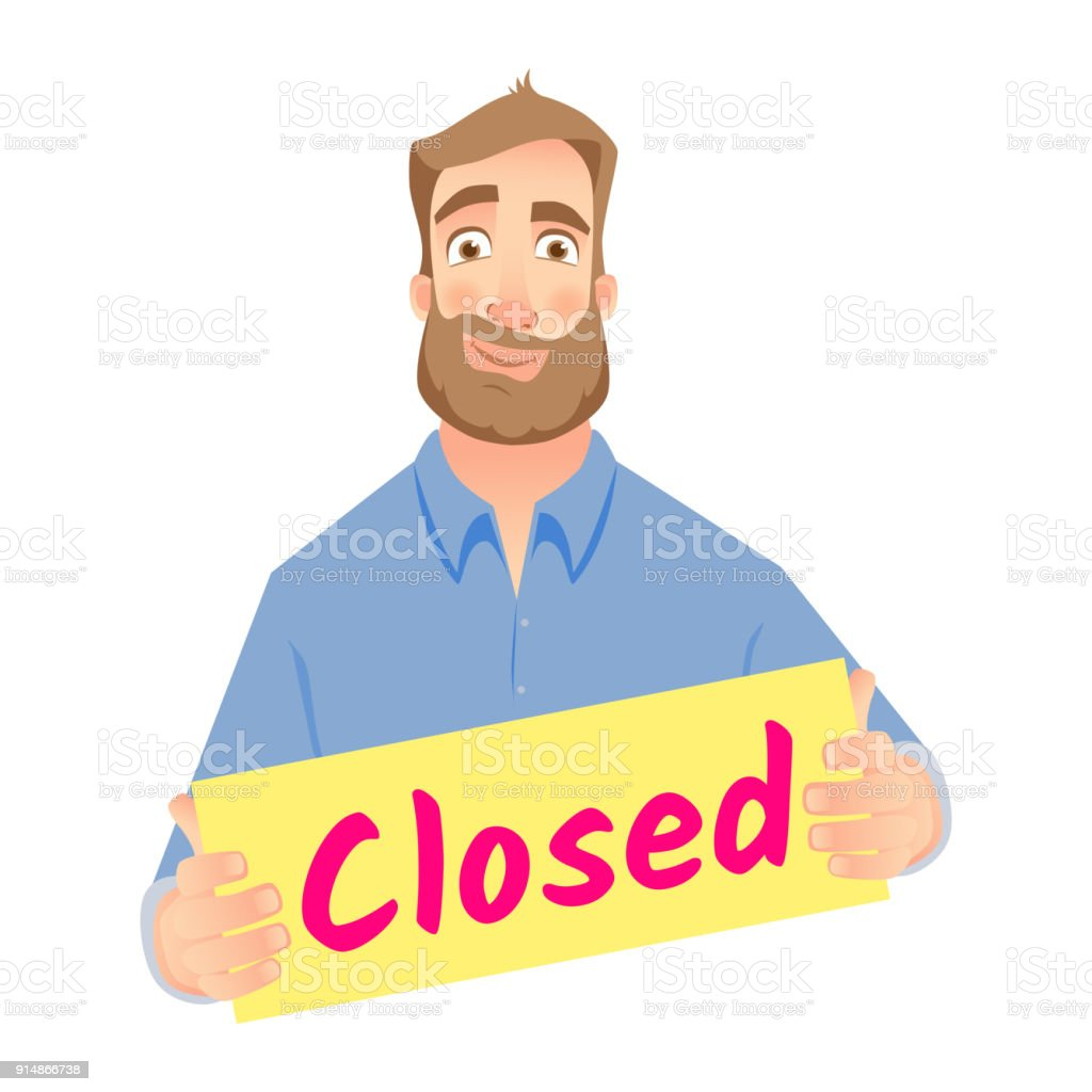 Man holding closed sign. Business closed sign vector illustration vector art illustration