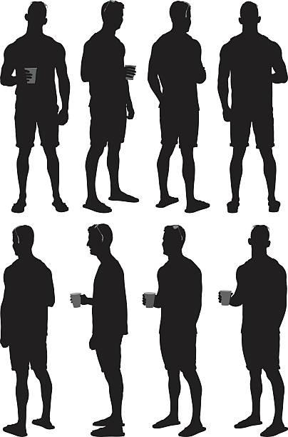 illustrazioni stock, clip art, cartoni animati e icone di tendenza di uomo che tiene la tazza di caffè per - ritratto 360 gradi