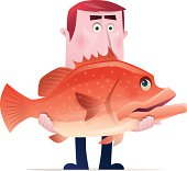 vector character of man holding grouper…