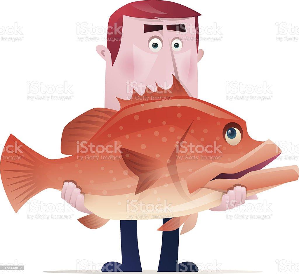 man holding fish vector art illustration