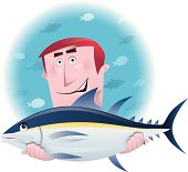 vector character of happy man holding tuna…