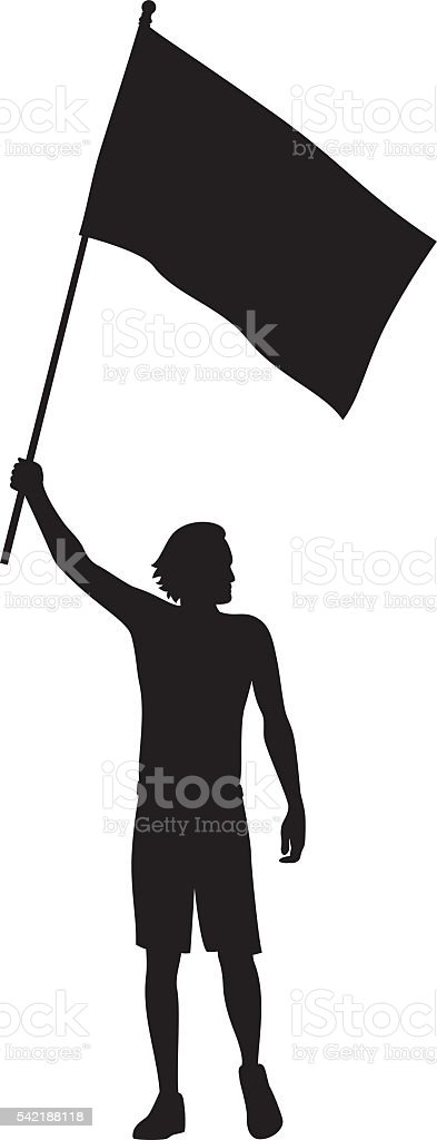Man Holding Flag Silhouette Stock Vector Art & More Images ...