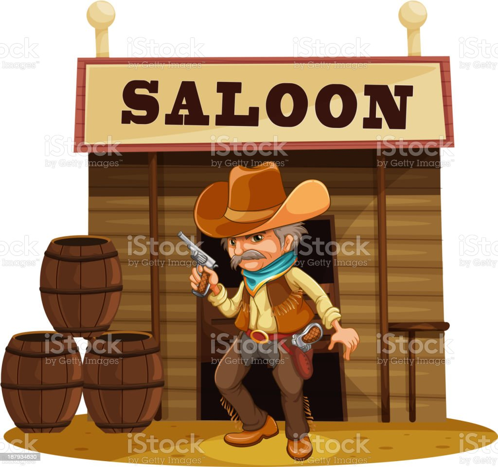 Man holding gun in front of saloon bar royalty-free stock vector art