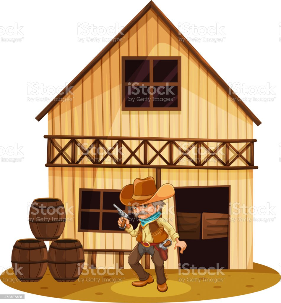Man holding gun in front of wooden house royalty-free stock vector art