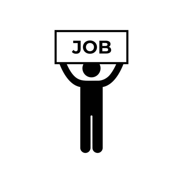 man holding job placard vector icon. - unemployment stock illustrations