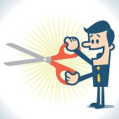 istock Man holding large scissors 495918989