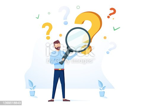 istock Man holding magnifying glass and looking through it at interrogation points. Concept of frequently asked questions 1269518843