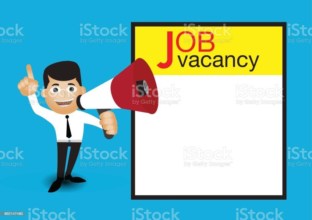 Man Holding Megaphone Job Vacancy Announcement Template Stock Vector