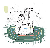 Simple drawing of man and animal relationship. Love. Care