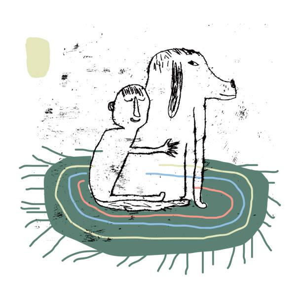 illustrazioni stock, clip art, cartoni animati e icone di tendenza di man holding pet dog. hug. love you - bambino cane