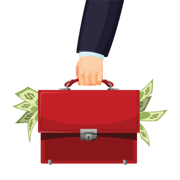 Man holding red budget briefcase filled with money vector illustration Man holding red budget briefcase in his left hand, filled with money, businessman dressed in formal suit vector illustration isolated on white stuffed stock illustrations