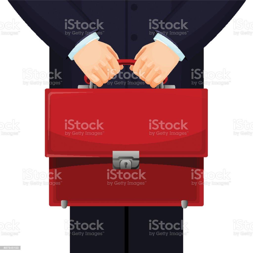 Mann mit roten Budget Aktenkoffer auf Vektor-illustration – Vektorgrafik