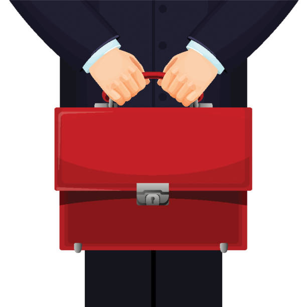 Man holding red budget briefcase on vector illustration vector art illustration