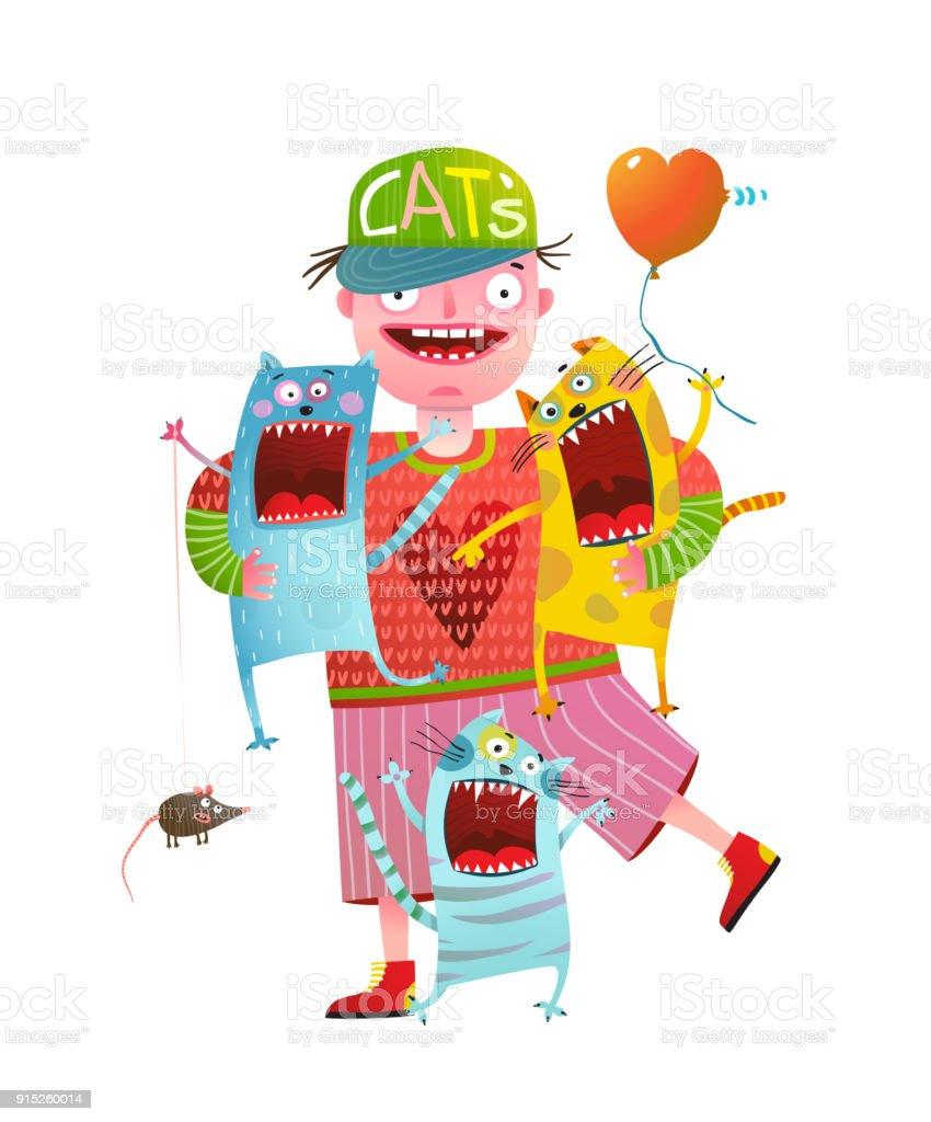 Man Holding Singing Screaming Cats vector art illustration