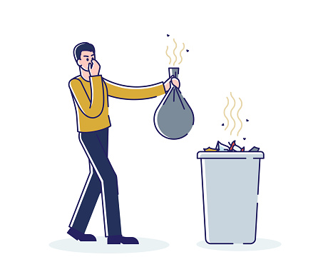 Man holding smelly bag of waste. Male throwing stinky garbage in trash bin