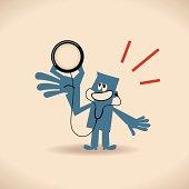 Vector illustration – Man holding stethoscope.