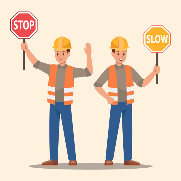 stockillustraties, clipart, cartoons en iconen met man met stopbord en langzame teken. vector design. - stopbord