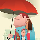 vector illustration of man holding umbrella with family …