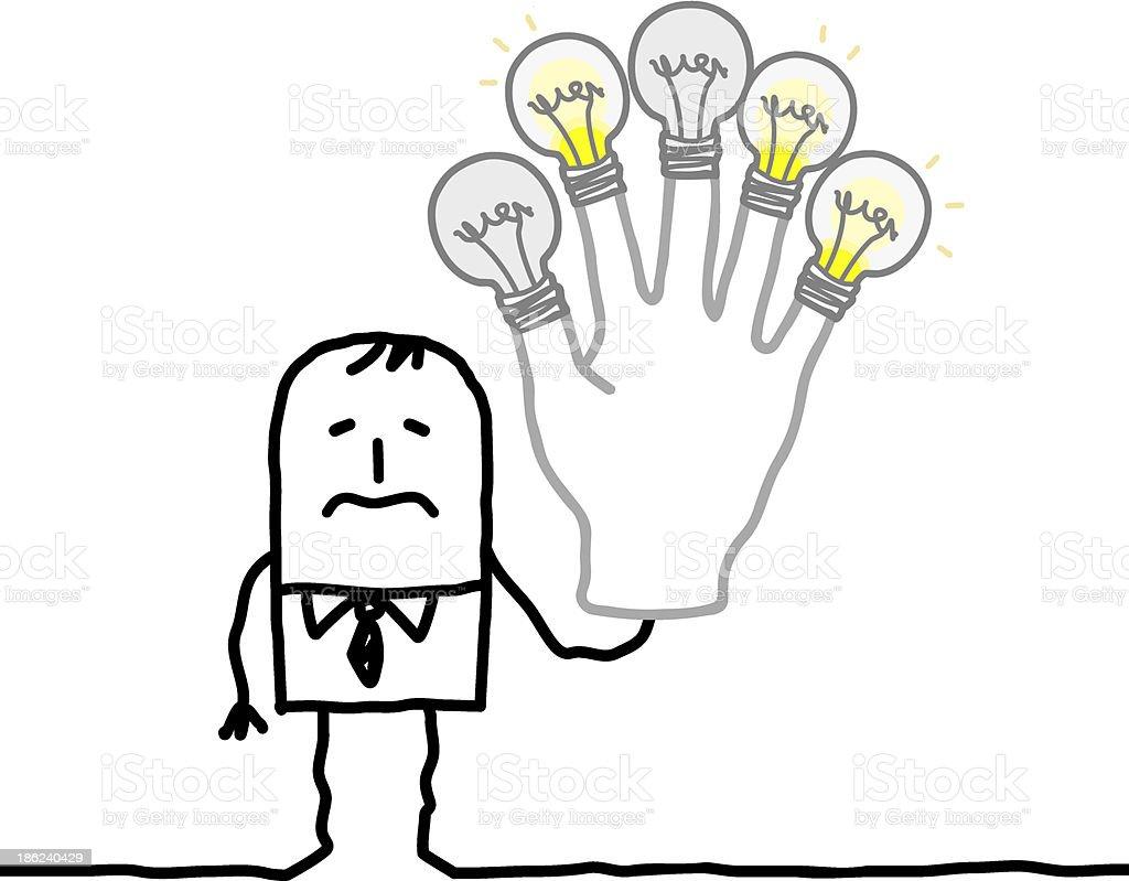 man holding up burning out lightbulb fingers royalty-free stock vector art
