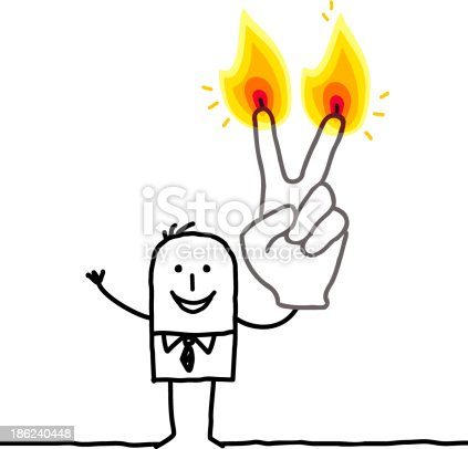 istock man holding up two burning finger candles 186240448