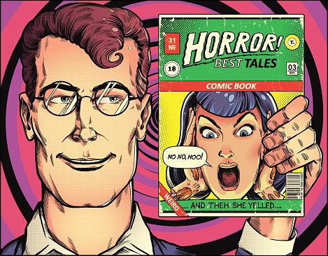 Man holding vintage comic book, reading comics pop art illustration