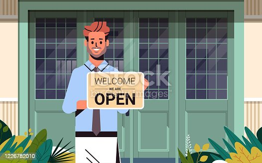 man holding welcome we are open sign coronavirus quarantine is ending victory over covid-19 concept street cafe exterior portrait horizontal vector illustration