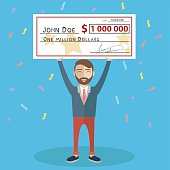 Man holding winning check for one million dollars. Lottery and rich, lucky smile, cheque and money. Vector illustration