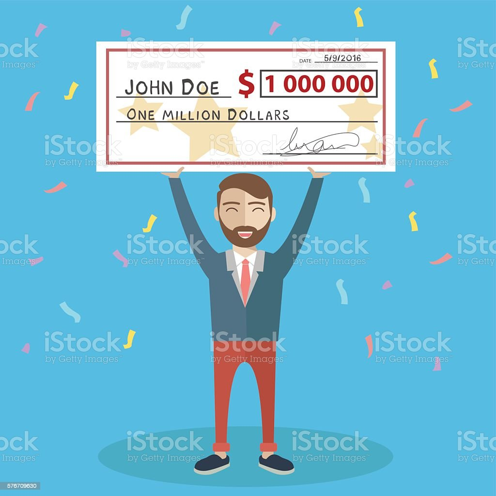 Man holding winning check for one million dollars. Lottery vector art illustration