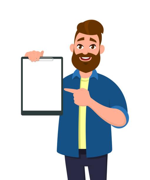 ilustrações de stock, clip art, desenhos animados e ícones de man holding/showing a blank clipboard and pointing with index finger to it. vector illustration in cartoon style. - segurar