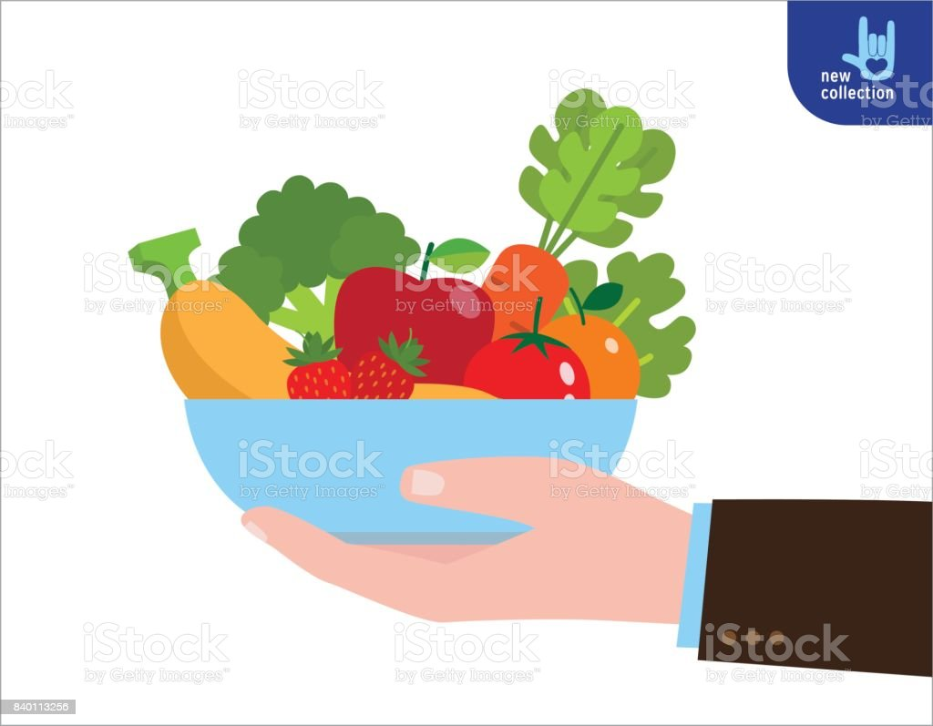 Ilustración De Hombre Sostiene Una Bandeja De Frutas Y Verduras