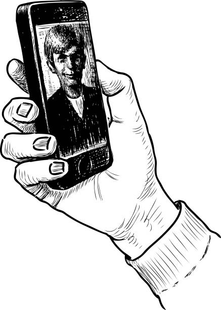 man holds in his hand a mobile phone with a photo on the screen - hand holding phone stock illustrations