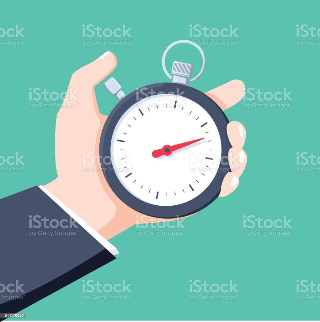 Man holds in his hand a sports stopwatch. Time management concept. Vector illustration. - ilustração de arte vetorial