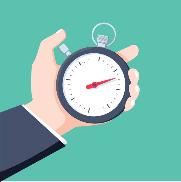illustrations, cliparts, dessins animés et icônes de l'homme tient dans sa main un chronomètre de sport. concept de gestion de temps. illustration vectorielle. - minuteur