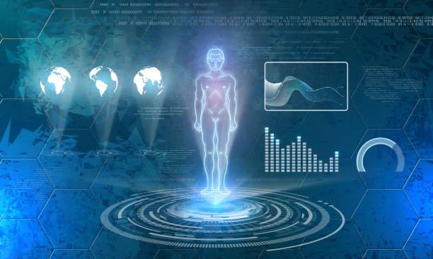 Mann-Hologramm auf Zukunftstechnologie Hintergrund – Vektorgrafik