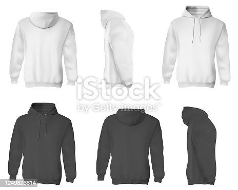 Man hoodie. Black and white blank male sweatshirts with hood template set. Front, side and back views of adult man hoodie shirts mockup collection. Casual clothing fashion mock up concept