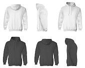 Man hoodie. Black and white blank male sweatshirts